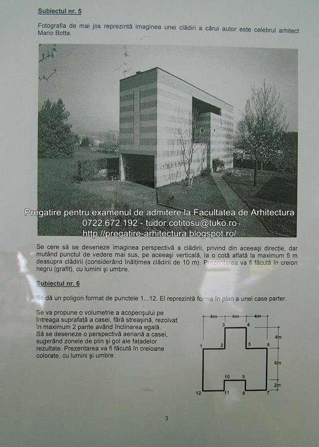 Subiecte examen de admitere Facultatea de Arhitectura - UAUIM - Septembrei 2013 - 03