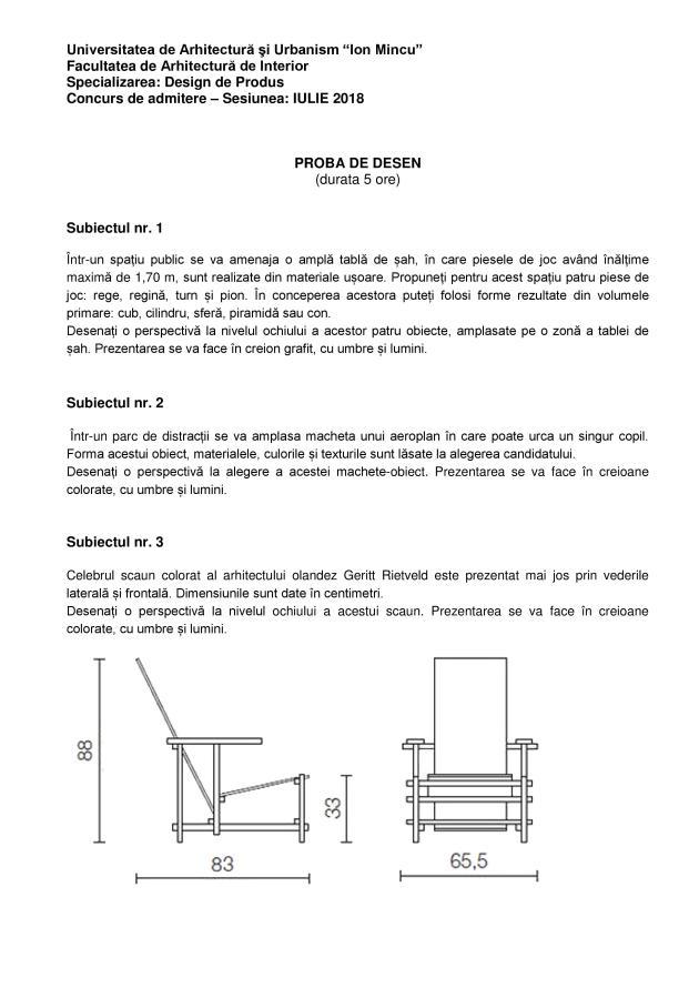 Subiecte examen admitere Design de Produs - UAUIM - 2018 01